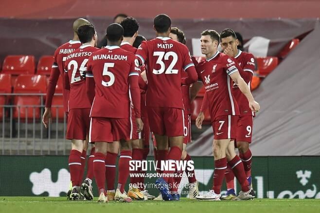 ▲ 디오구 조타의 추가골에 힘입어 리버풀은 레스터시티를 3-0으로 꺾었다.