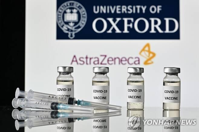 """아스트라제네카·옥스퍼드대 """"코로나19 백신 효과 최대 90%"""" (런던 AFP=연합뉴스) 영국 제약사 아스트라제네카와 옥스퍼드대학은 23일(현지시간) 공동개발 중인 신종 코로나바이러스 감염증(코로나19) 백신의 임상시험 중간분석 결과 평균 70%의 면역 효과를 확인했다고 밝혔다. 이 백신은 투약 방법을 조절하면 면역 효과가 90%까지 올라가는 것으로 나타났다. 사진은 아스트라제네카와 옥스퍼드대학 로고를 배경으로 코로나19 백신 스티커가 부착된 유리병과 주사기가 놓여 있는 모습. leekm@yna.co.kr"""