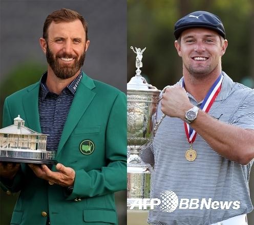 2020-2021시즌 미국프로골프(PGA) 투어 메이저대회 마스터즈 우승자 더스틴 존슨과 US오픈 챔피언 브라이슨 디섐보. 사진제공=ⓒAFPBBNews = News1