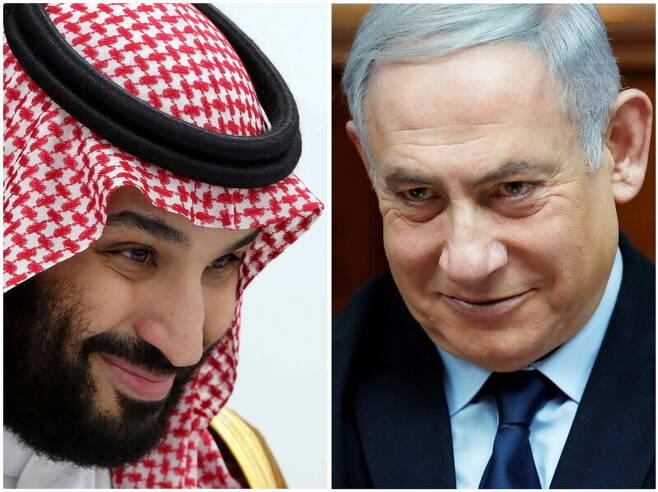 무함마드 빈 살만(왼쪽) 사우디아라비아 왕세자와 베냐민 네타냐후 이스라엘 총리. 로이터 연합뉴스