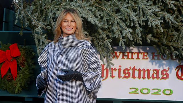 멜라니아 트럼프 여사가 23일(현지시간) 백악관에 도착한 크리스마스 공식 트리 옆에 서서 포즈를 취하고 있다. [사진 출처 : 로이터=연합뉴스]