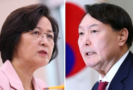 추미애 법무부장관(사진 왼쪽)과 윤석열 검찰총장. [연합]