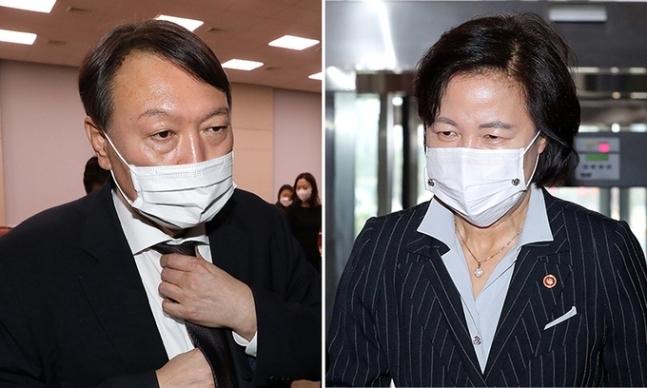 윤석열 검찰총장(왼쪽), 추미애 법무부 장관. 연합뉴스·뉴시스