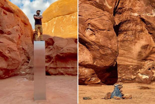 29일(현지시간) CNN은 유타주 동남부 사막에서 발견된 금속 기둥이 9일 만에 철거됐다고 유타주 토지관리국 발표를 인용해 보도했다./사진=헤비 디(Heavy D) 페이스북