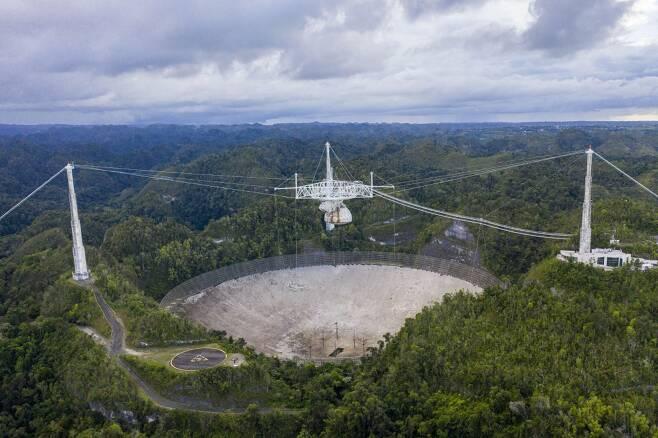 아레시보 관측소 전파망원경 붕괴 전./사진제공=미국 국립과학재단 트위터