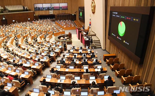 [서울=뉴시스] 전진환 기자 = 2일 오후 여의도 국회에서 열린 본회의에서 2021년도 예산안이 통과되고 있다. (공동취재사진) 2020.12.02. photo@newsis.com