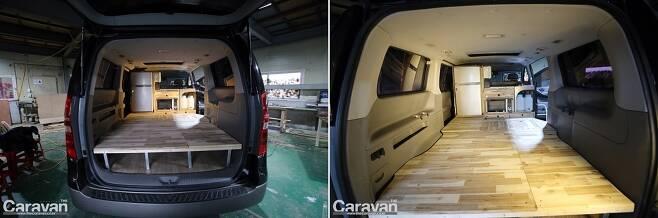 11인승 모델을 베이스로 2인 탑승, 취침 구성으로 제작된 캠핑카
