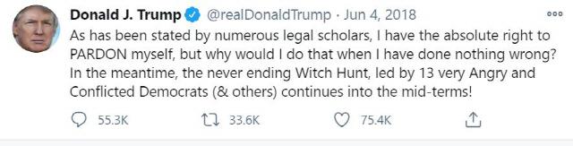 미국 대통령인 자신에게 스스로를 사면할 '절대적인 권리'가 있다고 주장한 도널드 트럼프 대통령의 트위터. /트럼프 트위터 캡처