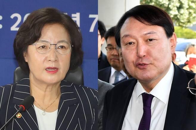 추미애 윤석열 - 추미애 법무부 장관, 윤석열 검찰총장. 연합뉴스