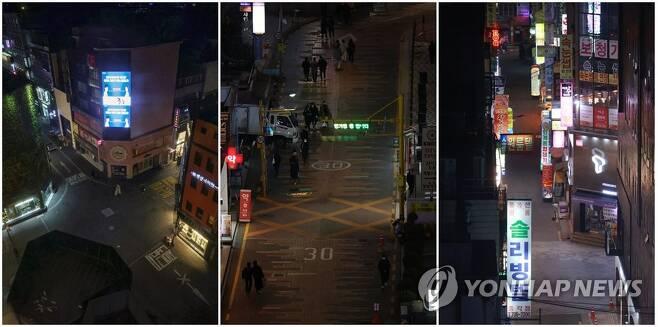 거리두기 2.5단계 앞두고 텅 빈 서울 번화가 거리 [연합뉴스 자료사진]