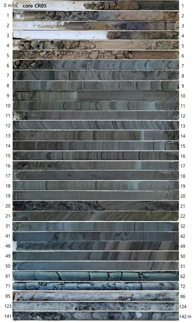 적중 초계분지에서 회수한 시추코어 (한국지질자원연구원 제공) 2020.12.14 /뉴스1