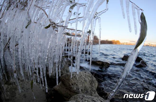 영하 10도 안팎의 강력한 한파가 찾아온 14일 오전 서울 여의도 한강공원 강변에 고드름이 얼어 있다. 2020.12.14/뉴스1 © News1 이동해 기자