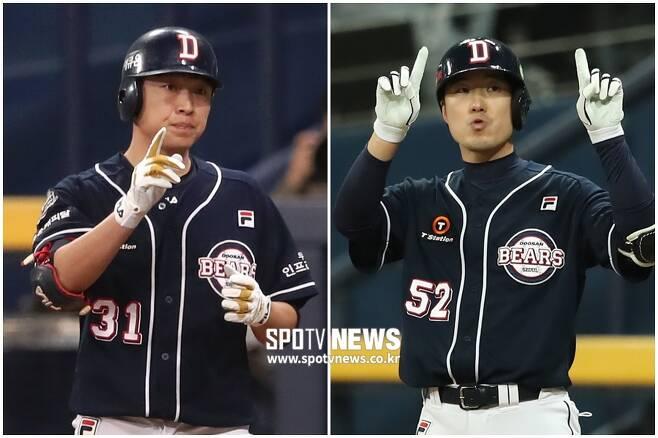 ▲ 정수빈(왼쪽)과 김재호 ⓒ 한희재 기자