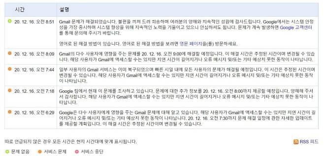 16일 구글 워크스페이스 상표 보드에 표시된 지메일 장애보고/사진제공=구글