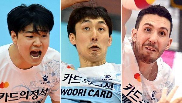 우리카드 하승우-하현용-알렉스(왼쪽부터). 스포츠동아DB