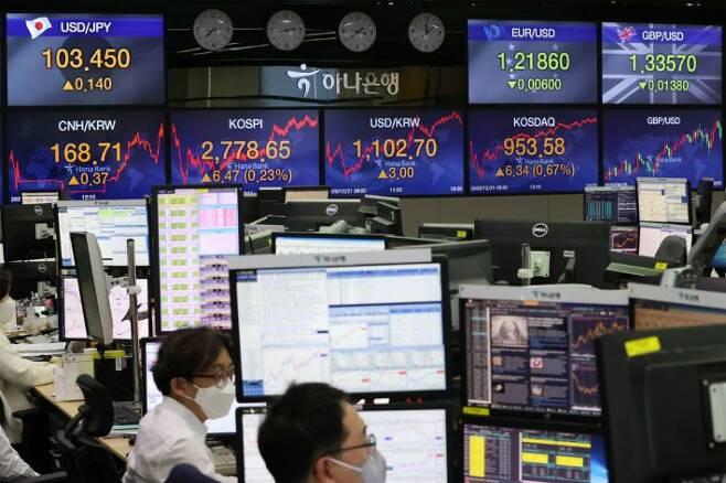 코스피가 이틀째 사상 최고치를 기록한 21일 오후 서울 중구 하나은행 본점 딜링룸에서 직원들이 업무를 보고 있다.(사진=연합뉴스)