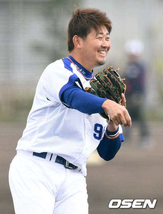 [OSEN=차탄(日 오키나와), 최규한 기자] 마쓰자카 다이스케가 훈련을 하고 있다. /dreamer@osen.co.kr