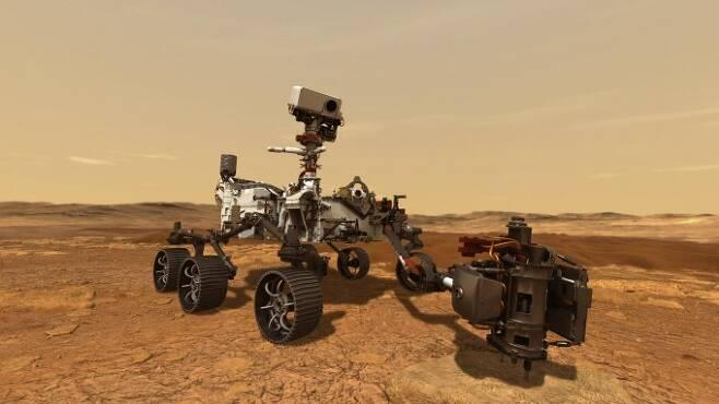 미국항공우주국(NASA)의 화성 탐사 로버 '퍼시비어런스'. 내년 2월 화성 표면에 착륙할 예정이다. NASA 제공
