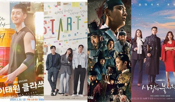 청춘극 '이태원 클라쓰' '스타트업'부터 글로벌 K-콘텐츠 '킹덤 시즌2' '사랑의 불시착'(왼쪽부터 차례로) 등 많은 드라마가 시청자들의 사랑을 받았다. JTBC, tvN, 넷플릭스 제공
