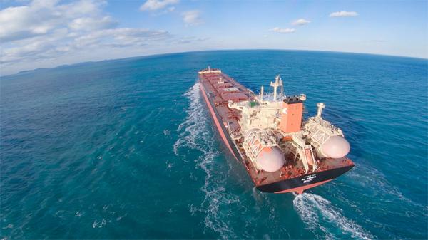 현대삼호중공업이 포스코로부터 9%니켈강을 공급받아 건조한 세계 최초의 LNG 추진 벌크선 `그린호`.  [사진 제공 = 포스코]