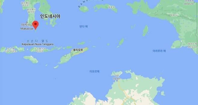수중 드론이 발견된 셀라야르섬 인근 해상(빨간 점) [구글맵]