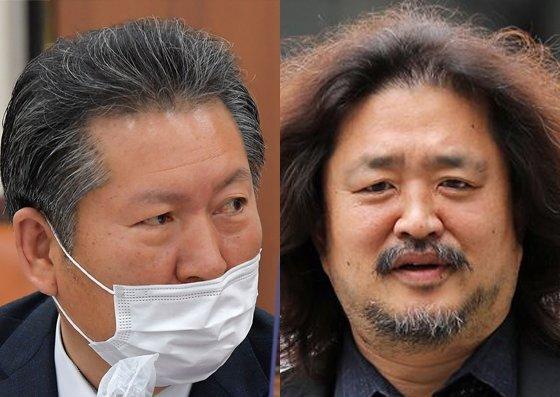 정청래 더불어민주당 의원(왼쪽)과 방송인 김어준. 뉴스1