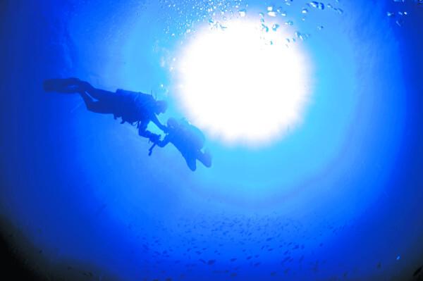대구보건대 강사 이명욱(왼쪽)씨와 지체장애인 도현욱씨가 지난해 11월 제주 서귀포시 문섬 바닷속에서 함께 스쿠버 다이빙을 하고 있다.