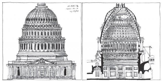 캐피톨 돔의 입면도(왼쪽)와 단면도. 삼각형 신전 입면 위로 삼층구조의 돔이 솟는다. 돔의 구조는 주철 뼈대이다. 내부 돔 정상은 뚫려 있고 그 위로 반구형 프레스코화가 있다. 내부 돔과 외부 돔의 높이가 다른데 이는 각각 내부 공간감과 외부 도시적 위용을 반영한다. 그림 이중원 교수