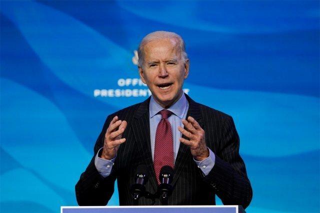 조 바이든 미국 대통령 당선인이 8일(현지 시간) 델라웨어주 윌밍턴의 인수위 사무실에서 내각 인사를 발표하고 있다. 바이든 당선인 취임식준비위원회는 20일 열리는 취임식 주제를 '하나 된 미국'으로 잡았다. AP 뉴시스