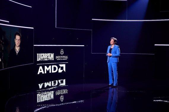 리사 수 AMD CEO가 CES 2021 기조연설에서 루카스필름 기술 담당 프랑수아 샤르보디안 부사장과 화상을 통해 대화하고 있다. AMD 제공