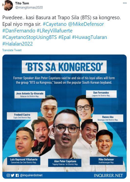 방탄소년단(BTS) 팬이 필리핀 정치그룹 'BTS 사 콩그레소' 결성 계획에 반대하는 글을 트위터에 올렸다. 샤진 가운데가 카예타노 의원. 트위터 캡처