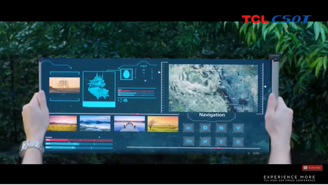 TCL이 선보인 17인치 프린티드 OLED 스크롤링 디스플레이. /사진=TCL 유튜브 채널