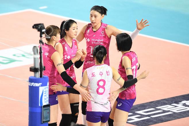 이번 시즌 V-리그 여자부의 '1강'으로 평가받는 흥국생명은 먼저 1, 2세트를 내주고도 내리 3, 4, 5세트를  가져오는 무서운 뒷심으로 한국도로공사 원정에서 승리를 낚아챘다. 한국배구연맹 제공