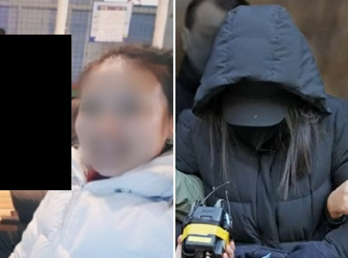 양모 장 모씨가 키즈카페에서 엄마들과 함께 찍은 사진(왼쪽) [출처-A 씨 제공, JTBC]