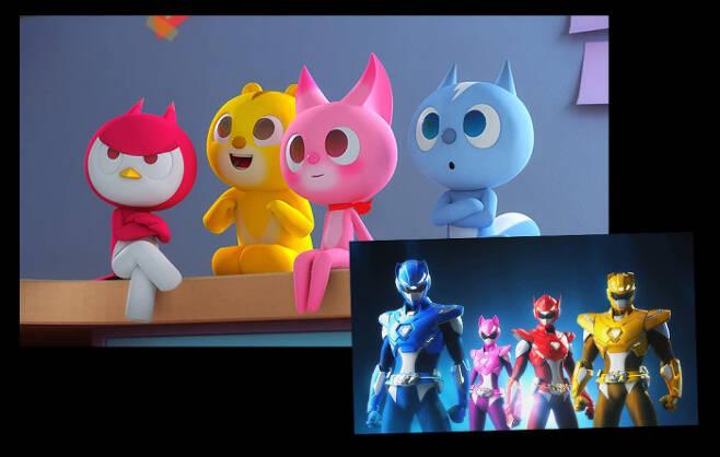 애니메이션 <미니특공대> 캐릭터들.  분홍색으로 표현된 '루시'(오른쪽에서 두번째)가 유일한 여성 캐릭터다.