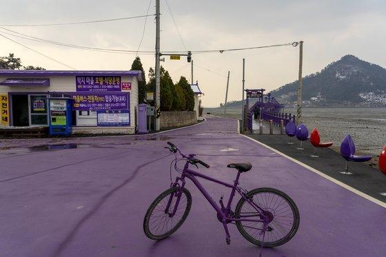 신안 퍼플섬 박지도. 마을 입구에서 자전거를 빌려탈 수 있다.