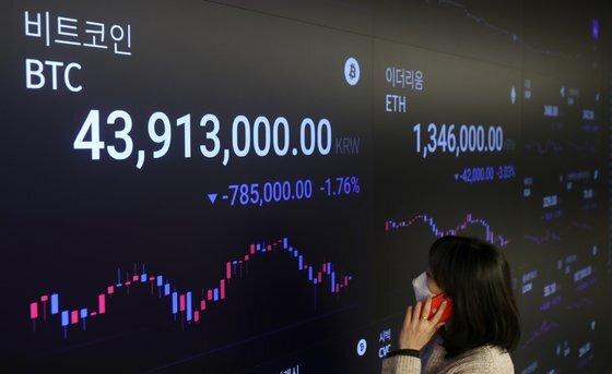 8일 서울 강남구 암호화폐 거래소 업비트의 고객센터 전광판에 4천만원을 넘긴 비트코인 가격이 보이고 있다. 14일 오후 5시 기준으로 비트코인 1개당 가격은 4222만원을 기록했다. 신인섭 기자
