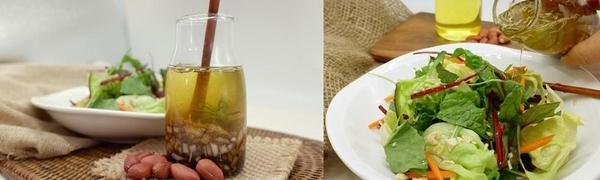 땅콩기름 맛깔장(샐러드 드레싱)과 샐러드. /농진청 제공