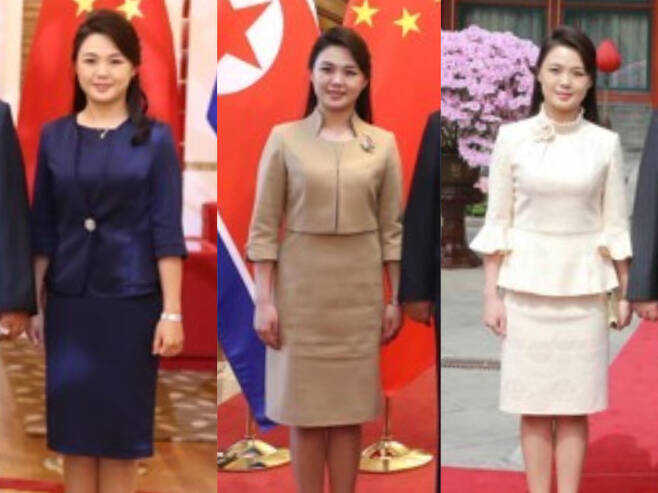 '샤넬라인' 치마 정장을 입은 북한 리설주 여사. 연합뉴스