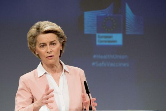(브뤼셀 신화=연합뉴스) 우르줄라 폰데어라이엔 유럽연합(EU)집행위원장이 17일(현지시간) 벨기에 브뤼셀의 EU 본부에서 기자회견을 하고 있다. EU 집행위원회는 이날 신종 코로나바이러스 감염증(코로나19) 변이 바이러스 대응 강화 방안을 제시했다.     jsmoon@yna.co.kr (끝)   <저작권자(c) 연합뉴스, 무단 전재-재배포 금지>