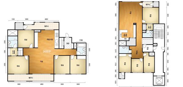 전용면적 114㎡의 신축 아파트 평면(왼쪽)과 전용면적 110㎡ 리모델링 아파트 평면(오른쪽)./네이버 부동산 캡처