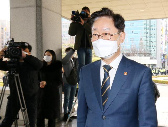박범계 법무부 장관이 24일 오후 대전고검을 방문하고 있다. 대전=뉴스1