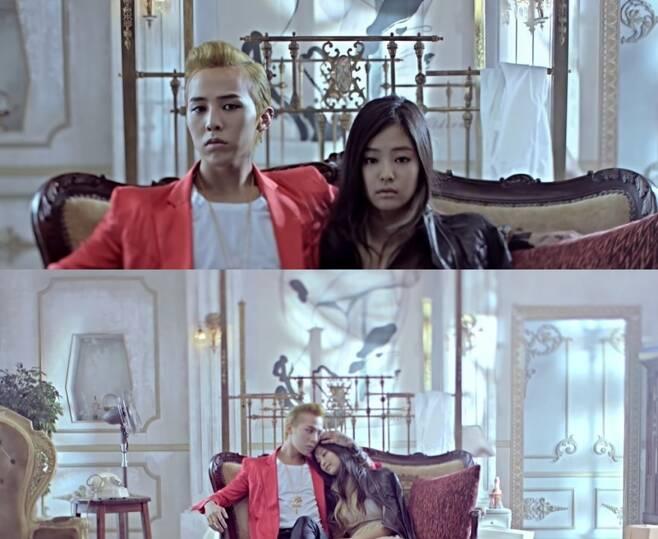 ▲ 지드래곤(왼쪽), 제니. 출처| '그XX' 뮤직비디오 캡처