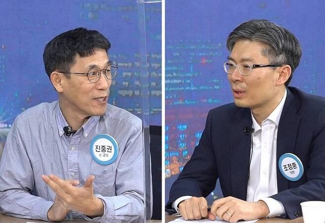 진중권 전 동양대 교수(왼쪽)와 조정훈 시대전환 서울시장 예비후보 ⓒ 시사끝짱