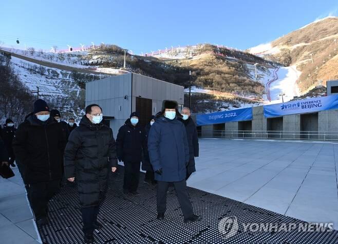 '2022 베이징 동계올림픽' 준비 상황 점검하는 시진핑 (베이징 신화=연합뉴스)