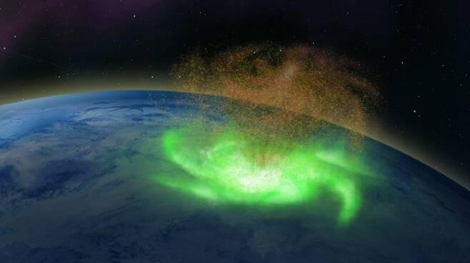 전자가 비처럼 쏟아진다…지구 대기서 '우주 허리케인' 첫 발견(사진=장칭허/네이처 커뮤니케이션스)