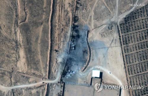 미국의 시리아 내 친이란 민병대 공습 이후 위성사진 [AFP=연합뉴스] Maxar Technologies 제공