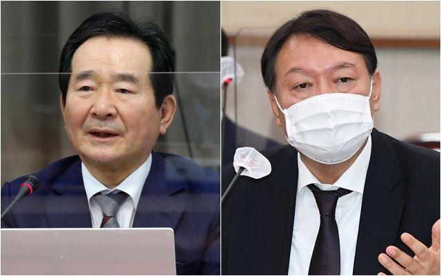 정세균(왼쪽) 국무총리, 윤석열 검찰총장 ⓒ데일리안 박항구·홍금표 기자