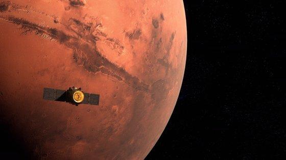 UAE의 화성 탐사선이 화성 궤도에 진입하는 모습을 담은 일러스트. 사진 MBRSC