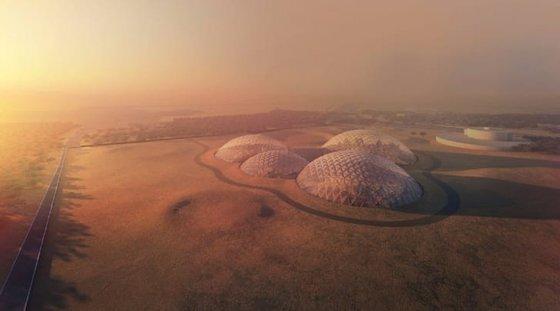 UAE에 세워질, 화성을 재현한 돔형 실험 구조물 상상도. 사진 MBRSC